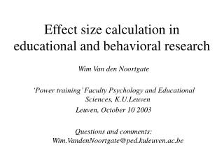Effect size calculation in educational and behavioral research