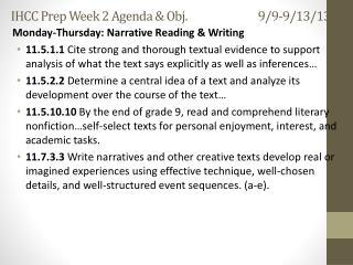 IHCC Prep Week 2 Agenda & Obj. 9/9-9/13/13