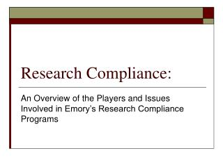 Research Compliance: