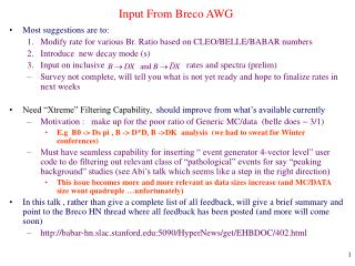 Input From Breco AWG