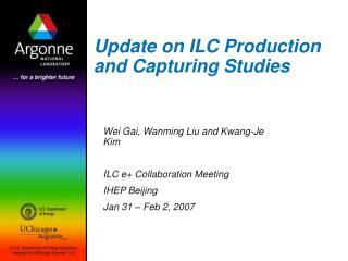 Update on ILC Production and Capturing Studies