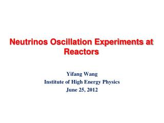 Neutrinos Oscillation Experiments at Reactors