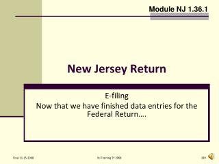 New Jersey Return