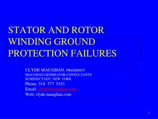 Stator  AND ROTOR Winding  Ground Protection  Failures