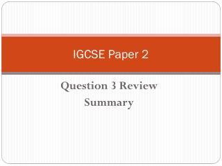 IGCSE Paper 2