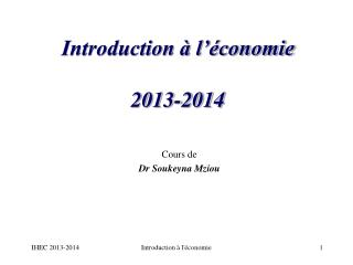 Introduction à l'économie  2013-2014