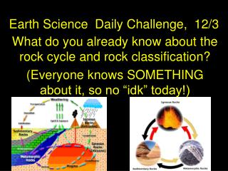 Earth Science  Daily Challenge,  12/3