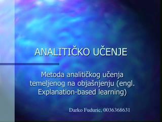 ANALITIČKO UČENJE