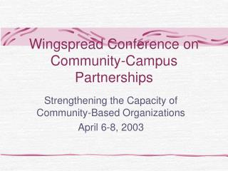 Wingspread Conference on Community-Campus Partnerships