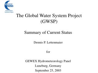 The Global Water System Project (GWSP)