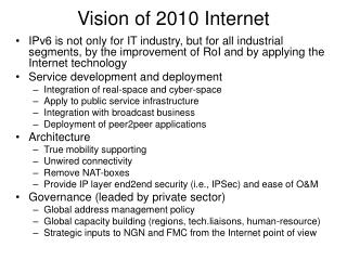 Vision of 2010 Internet