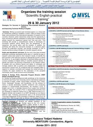 Organizes the training session ''Scientific English practical training'' 29 & 30 January 2012