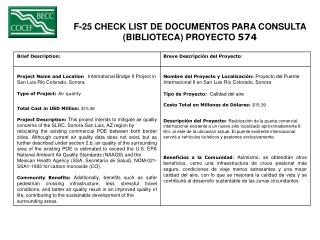 F-25 CHECK LIST DE DOCUMENTOS PARA CONSULTA  (BIBLIOTECA) PROYECTO  574