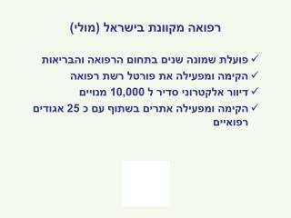 רפואה מקוונת בישראל (מולי)