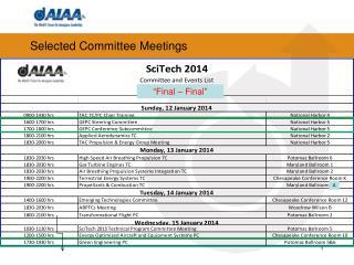 Selected Committee Meetings