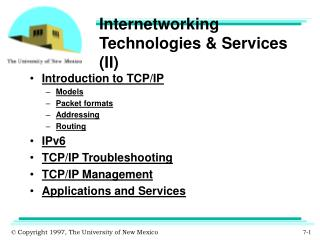 Internetworking Technologies & Services (II)