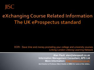 eXchanging  Course Related Information The UK  eProspectus  standard