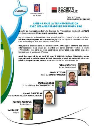 AMIENS JOUE LA TRANSFORMATION  AVEC LES AMBASSADEURS DU RUGBY PRO