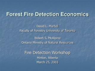 Forest Fire Detection Economics