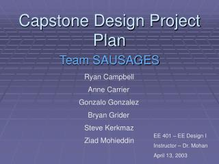 Capstone Design Project Plan