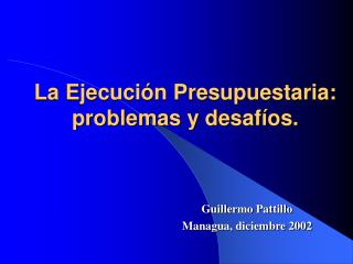 La Ejecuci�n Presupuestaria: problemas y desaf�os.