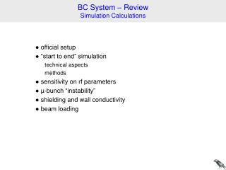 BC System – Review Simulation Calculations