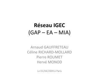 Réseau IGEC  (GAP – EA – MIA)