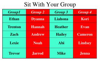 Sit With Your Group
