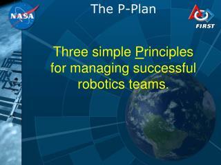 Three simple  P rinciples for managing successful robotics teams .
