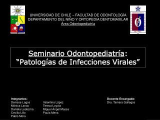 "Seminario Odontopediatría : ""Patologías de Infecciones Virales"""