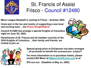 St. Francis of Assisi Frisco - Council 12480