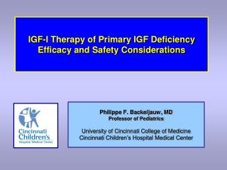 IGF-I Therapy of Primary IGF Deficiency Efficacy and Safety Considerations