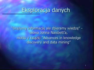 Eksploracja danych