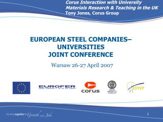 EUROPEAN STEEL COMPANIES–UNIVERSITIES JOINT CONFERENCE