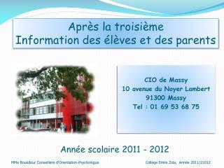 Année scolaire 2011 - 2012