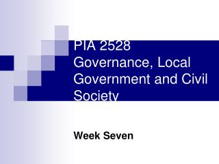 PIA 2528 Governance, Local Government and Civil Society
