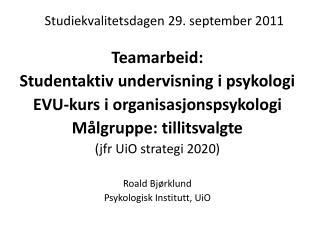 Studiekvalitetsdagen 29. september 2011