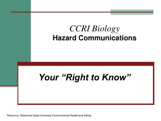 CCRI Biology Hazard Communications