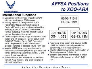 AFFSA Positions  to XOO-ARA