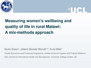 Measuring women's wellbeing and quality of life in rural Malawi:  A mix-methods approach