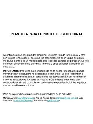 PLANTILLA PARA EL PÓSTER DE GEOLODIA 14