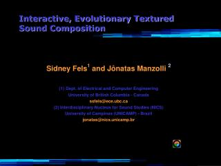 Interactive, Evolutionary Textured Sound Composition