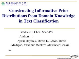 Constructing Informative Prior Distributions from Domain Knowledge in Text Classification
