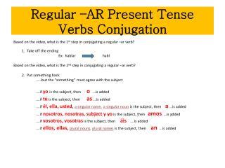 Regular –AR Present Tense Verbs Conjugation
