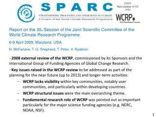 WCRP – Quo vadis? SPARC – Quo vadis?