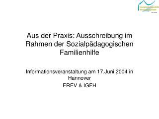 Aus der Praxis: Ausschreibung im Rahmen der Sozialpädagogischen Familienhilfe