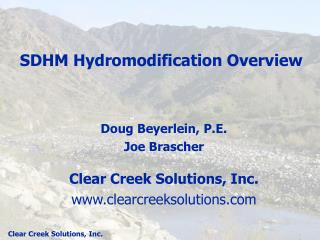 SDHM Hydromodification Overview