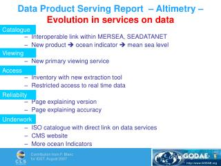 Data Product Serving Report  – Altimetry – Evolution in services on data
