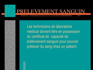 PRELEVEMENT SANGUIN