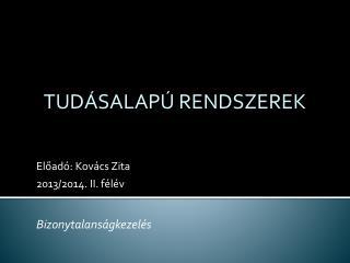 Előadó: Kovács Zita 2013/2014.  II . félév